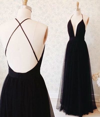 Simple Long Prom Dresses A Line V Ncek Black Prom Dress