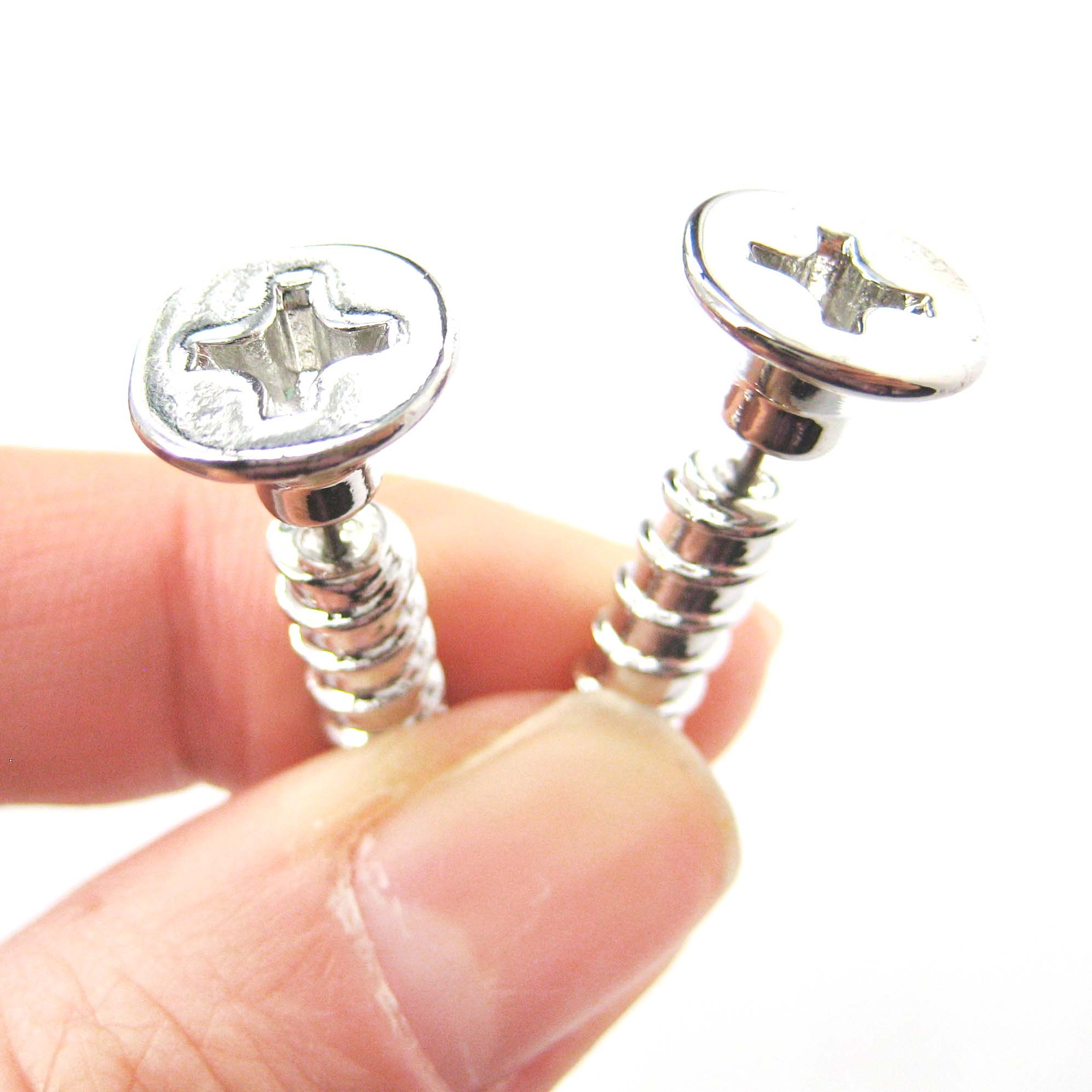 gauging jewelry 3d realistic nuts and bolts stud earrings 3529
