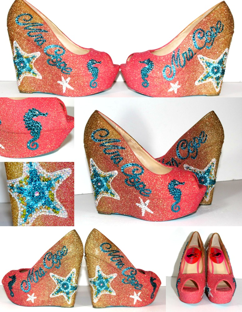 12d59f8d3b36cf Custom Weding Shoes - Wedge Wedding Shoes - Peep Toe Ombre Beach Shoe