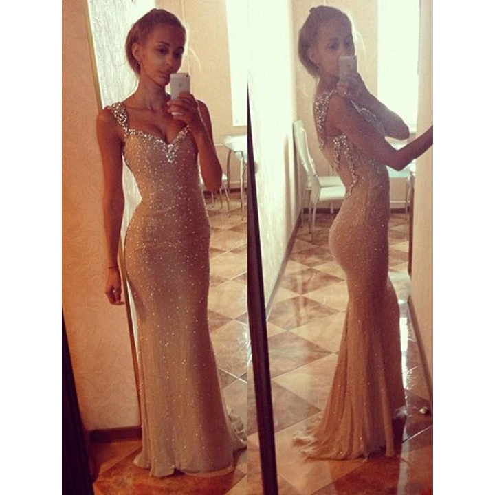 Sparkle Prom Dresses with Sequined Neckline