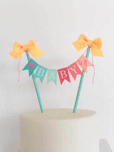 Stupendous Flamingo Cake Topper Birthday Cake Bunting Baby Shower Cake Personalised Birthday Cards Paralily Jamesorg