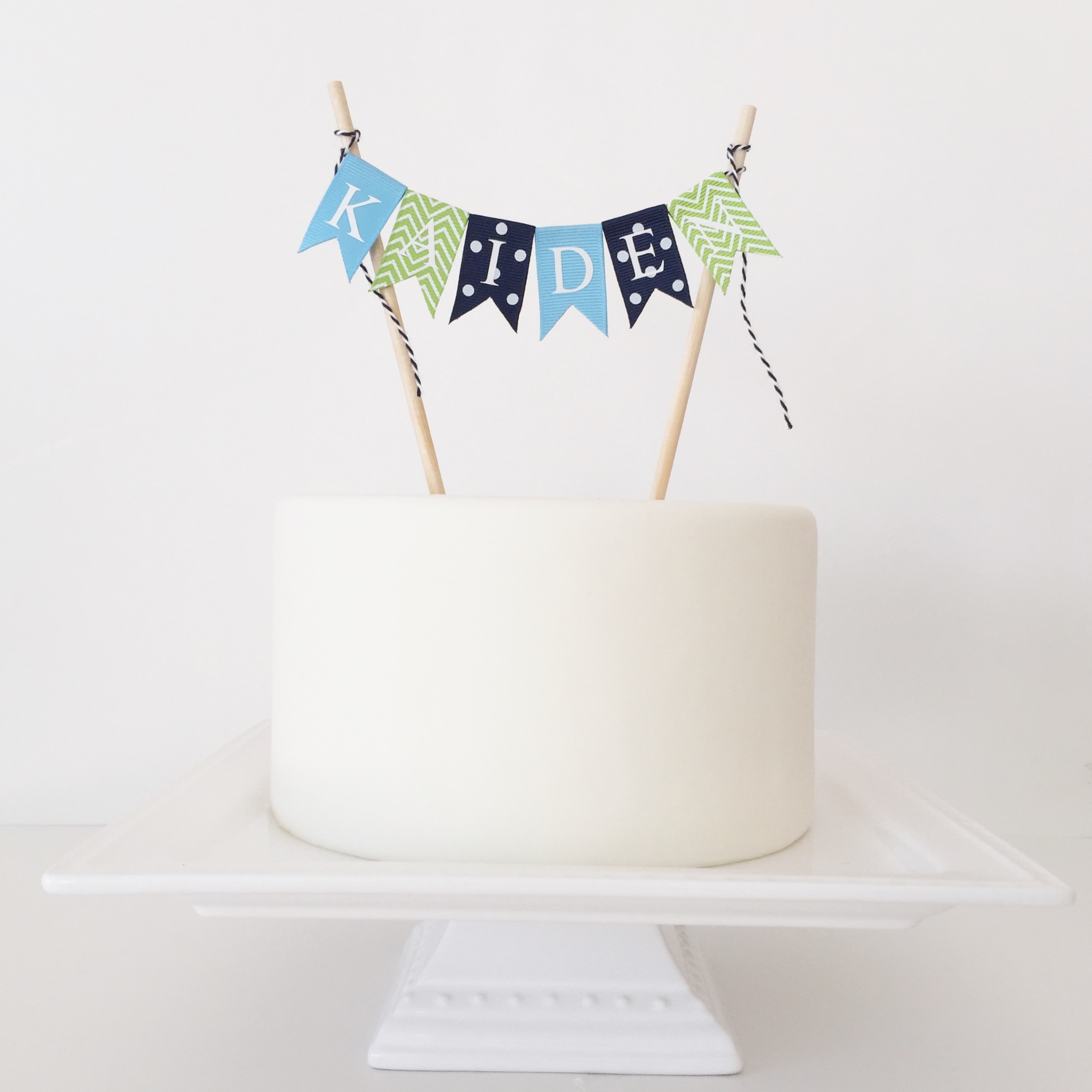 2nd Birthday Cake Topper Boy Chevron