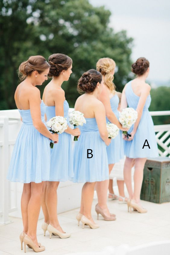 c8bcea7606f0d 2016 Light Sky Blue Simple Cheap Short Pretty Bridesmaid Dresses ...