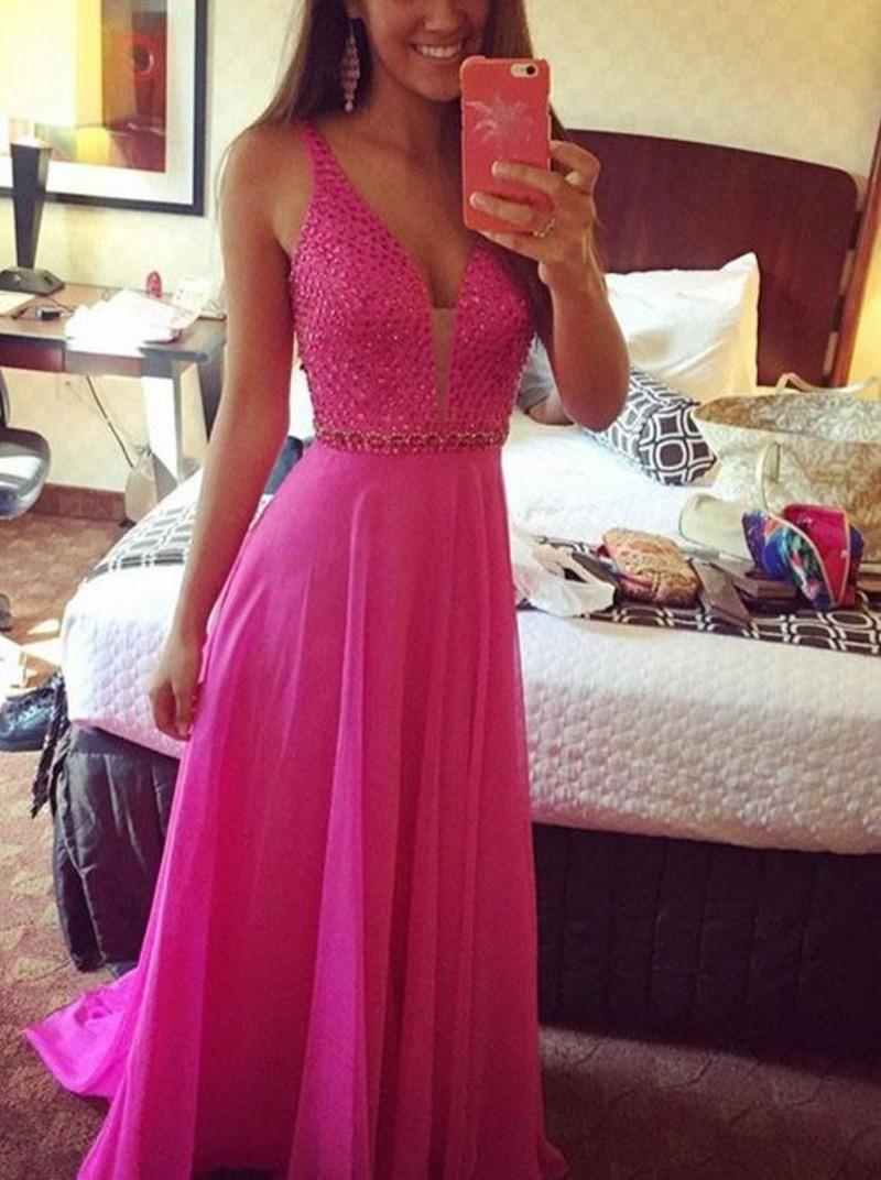 Sexy chiffon empire v-neck prom dress