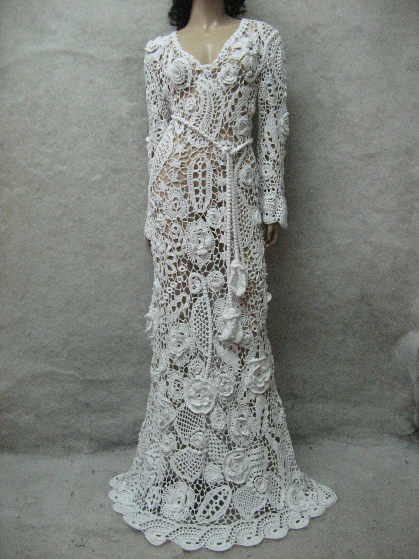 Crochet Wedding Dress.Crochet Wedding Maxi Dress Handmade White Dress Wedding Dress Crochet White Dress Irish Lace Dress Summer Cotton Dress Crochet Wedding Gown
