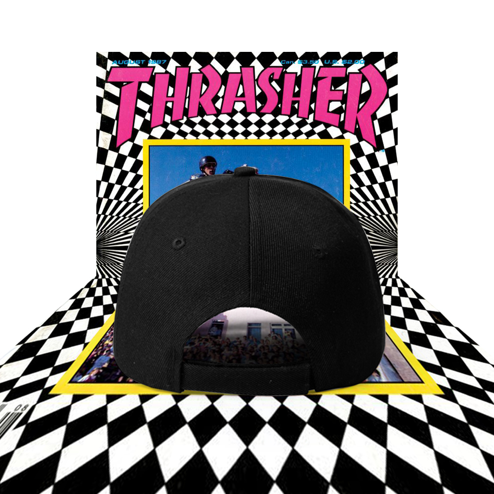 6b78bf41a5a500 VINTAGE THRASHER MAGAZINE ON FIRE BASEBALL CAP IN BLACK on Storenvy