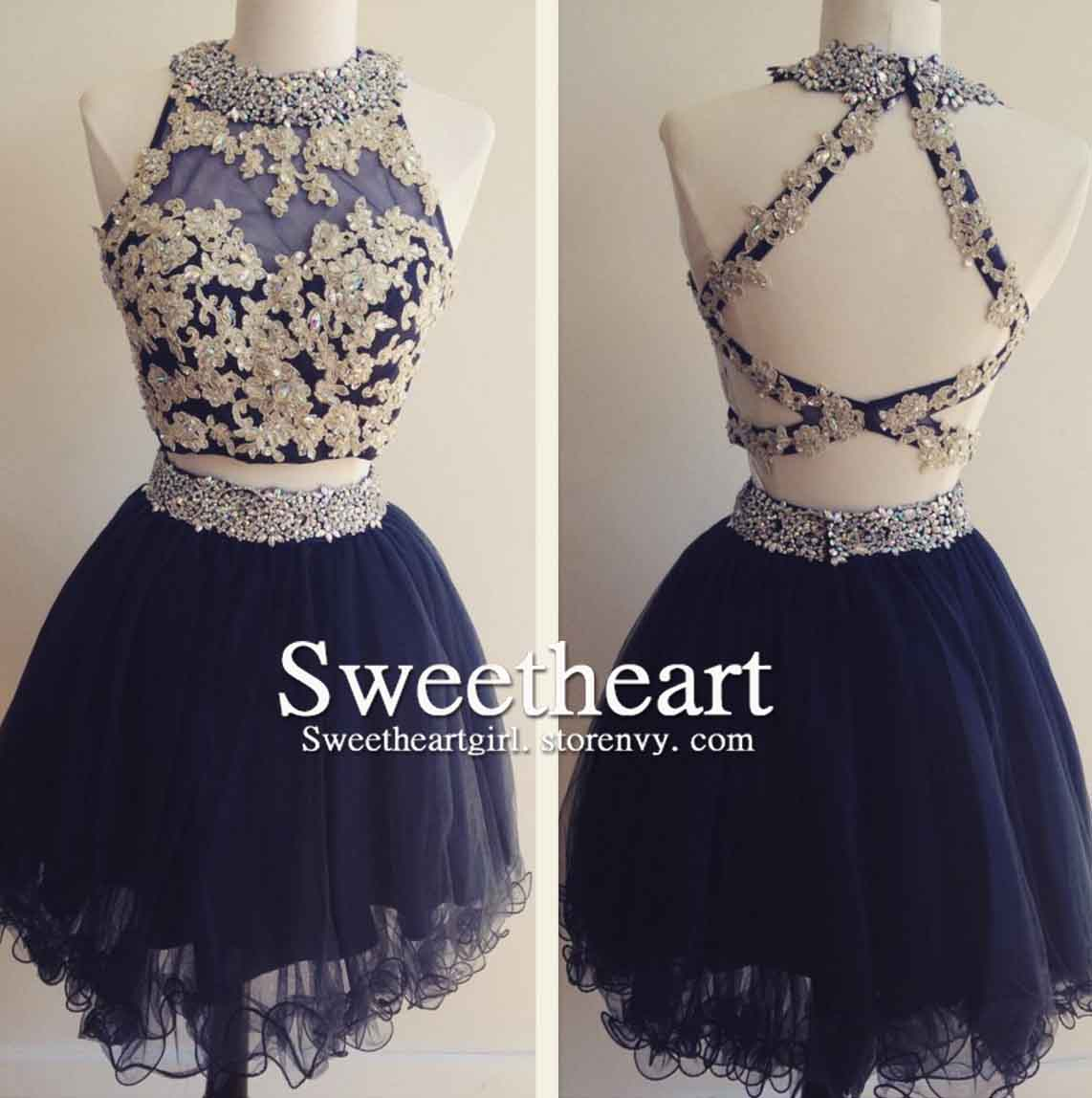 1dc03ff4bdd4 Sweetheart Girl | Dark blue tulle lace 2 pieces short prom dress,  homecoming dress | Online Store Powered by Storenvy