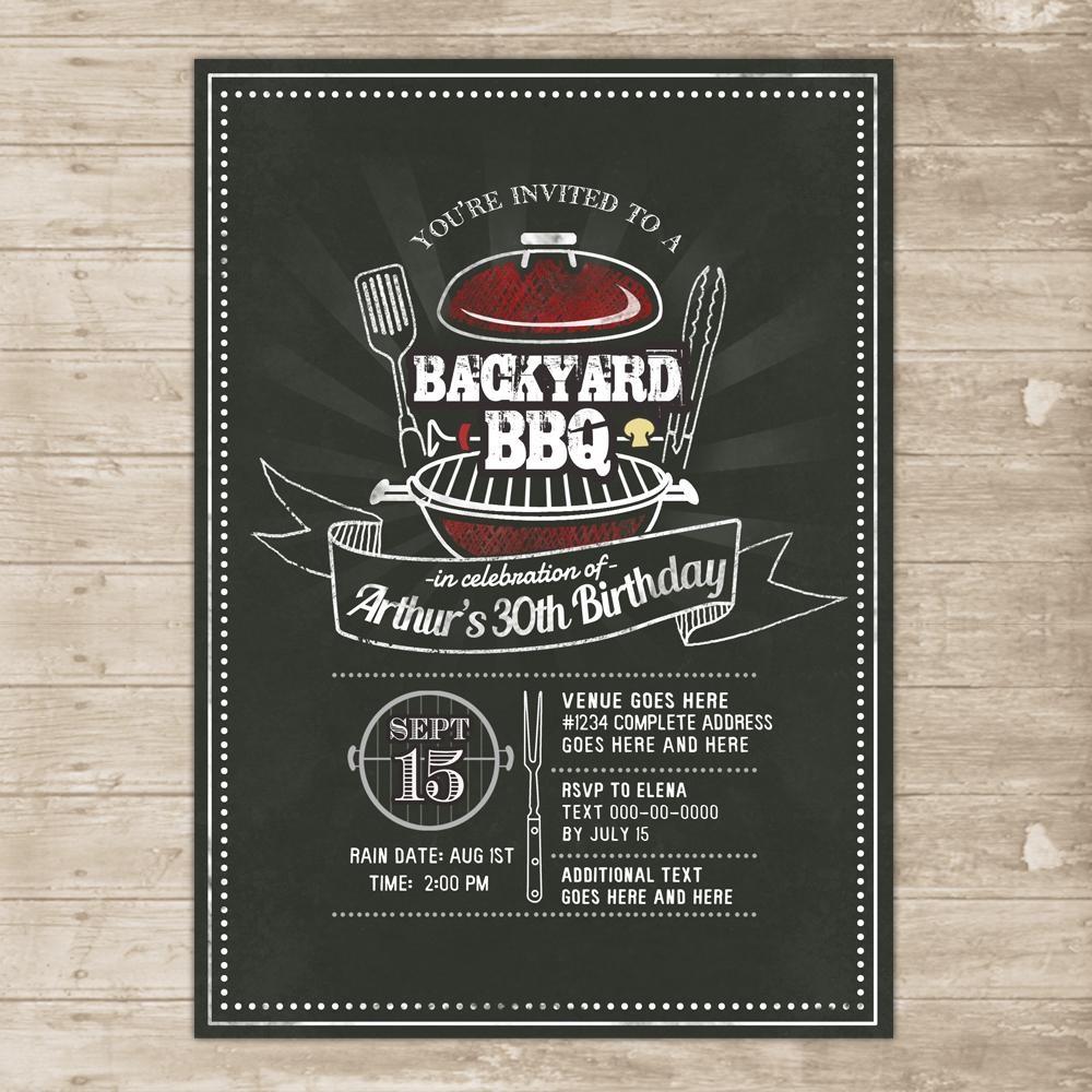 backyard bbq invitation grill cookout invite family picnic birthday