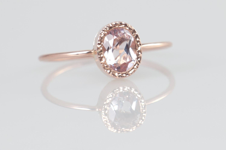 Peach Morganite Engagement Ring, Rose Gold Morganite Ring ...