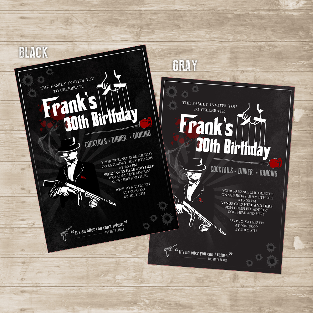 Mafia Invitation Mobster Gangster Mob Invite For Men Godfather Birthday Card