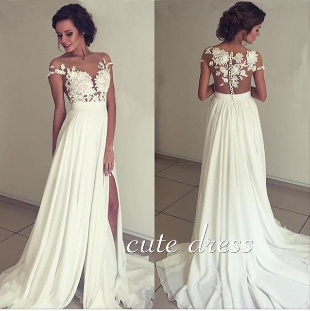 0e14ef4e81c ivory chiffon lace round neck long prom dress