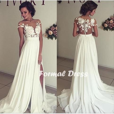 16c98f1f3be Elegant white prom dress