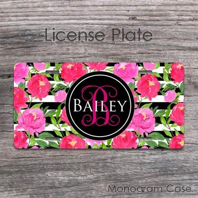 Cute Peonies Personalized License Plate Custom Floral Car