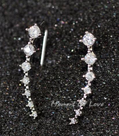 f76610301 ... Top Quality New Four-Prong Setting 7pcs CZ Diamonds 18K Gold Plated Ear  Hook Stud ...