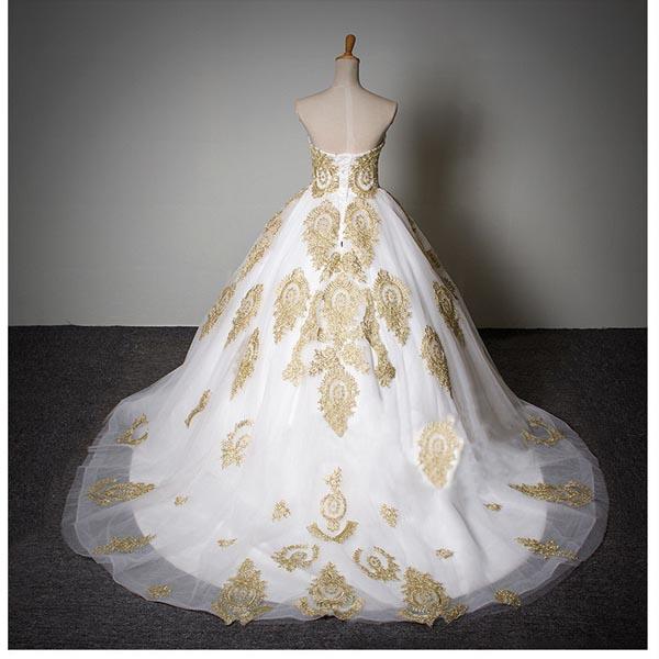 Wedding Dressesbridal Gowngold Lace Wedding Dressesa Line