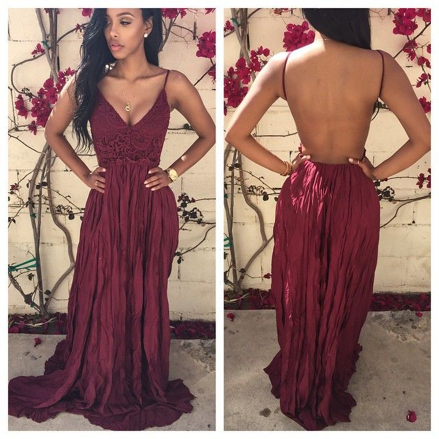 Ulass Floor Length Backless Prom Dresses, Backless Red Prom Dresses ...