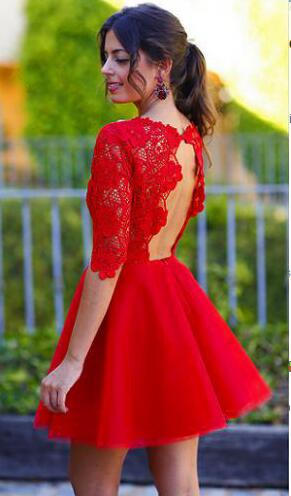 Red Short Homecoming Dresses with Lace Sleeves