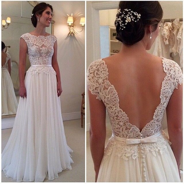 Ulass Lace Chiffon Backless A Line Wedding Dresses Capped Sleeves