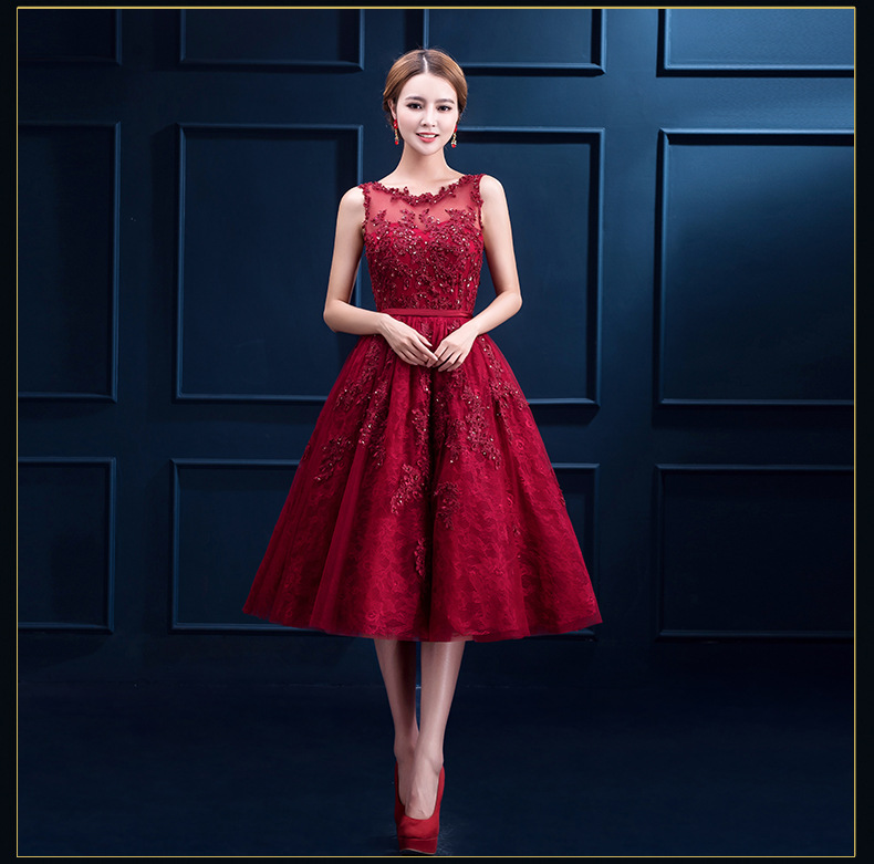 J31 Robe De Soiree New Wine Red Lace Embroidery Sleeveless A Line