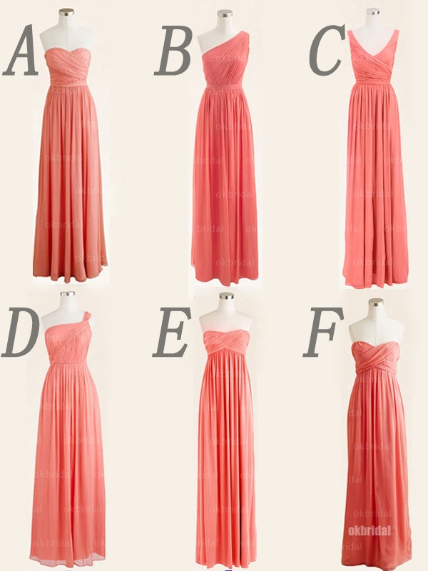 b1ed3dde986a long bridesmaid dress, mismatched bridesmaid dress, coral bridesmaid ...