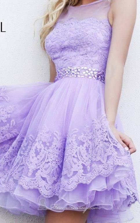 2016 Princess Lilac Short Lace Homecoming Dresses Beaded Tulle Prom Sweet 16 Dress For Teens