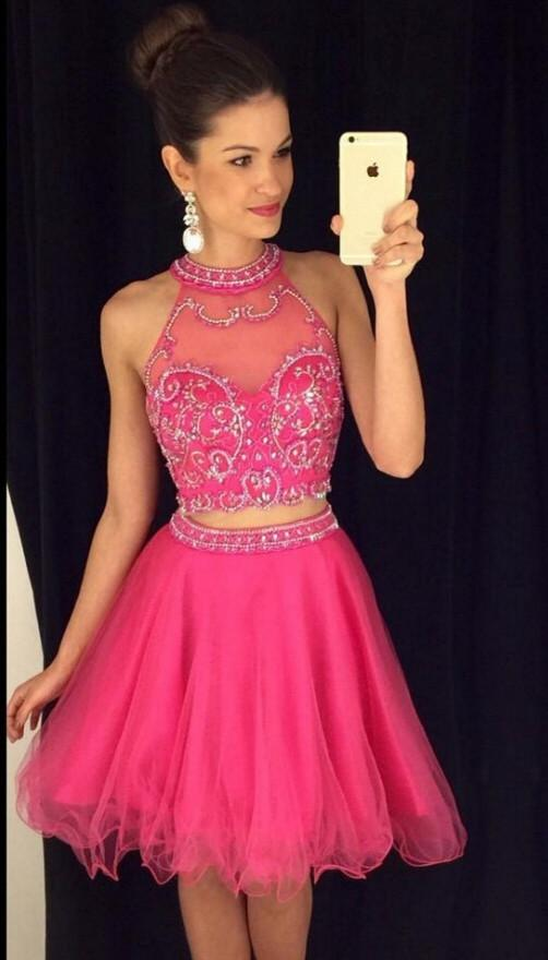 Charming 2 Pieces Homecoming Dresses,Hot Pink Homecoming Dresses ...