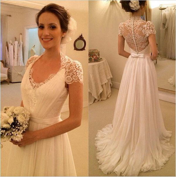 2016 vestidos de novia a line long chiffon lace wedding dresses simple elegant short sleeve
