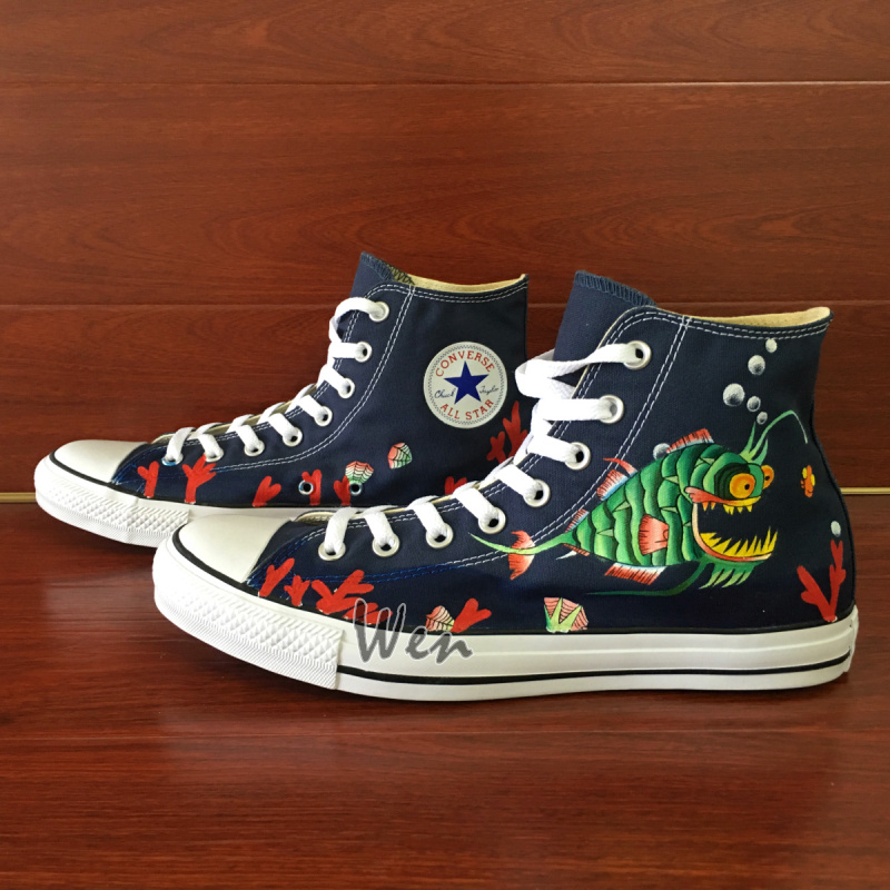 Anglerfish Original Design Blue Converse All Star Canvas Shoes Hand Painted Shoes Men Women's Sneakers High Classic Skateboarding Shoes sold by