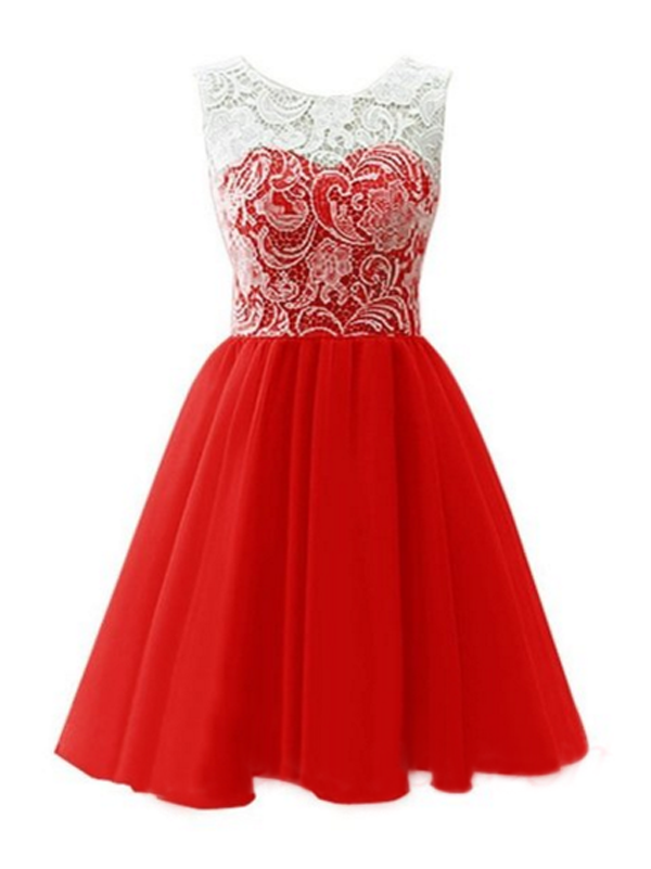 prom dresses plus size,Red A-line Scoop Short Mini Chiffon ...