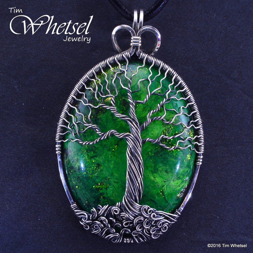 Custom Sterling Silver Tree of Life Pendant with Green Orgonite - Handmade  Wire Wrap Jewelry by Tim Whetsel from Wire Wrapped Jewelry by TDW