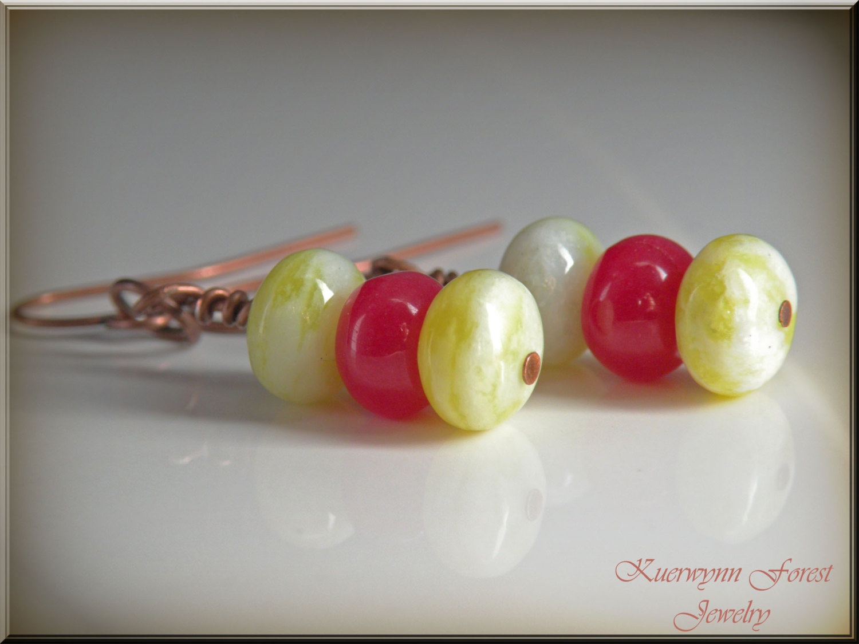 057ed0f66250c3 Natural Lemon Jade and Cherry Pink Jade Gemstone Earring Trio - Antiqued  bronze dangle earrings