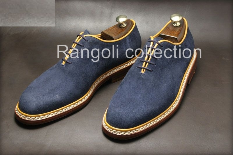 Handmade Men Navy Blue Suede Dress Shoes Mens Suede Shoes Mens