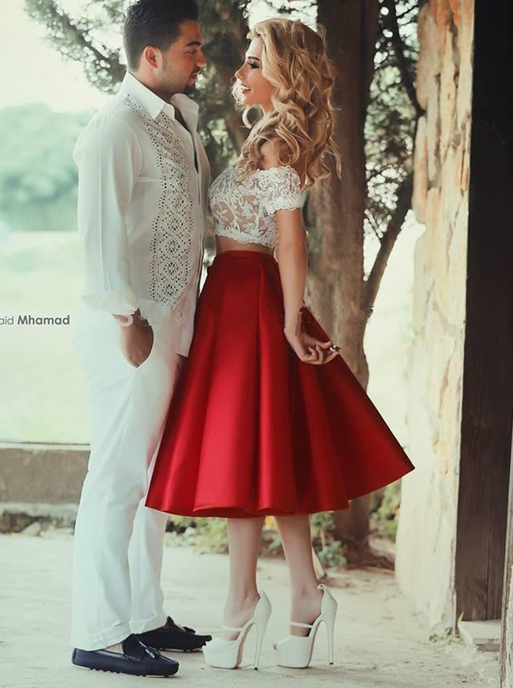 f66634066d97 Two-piece White Lace Homecoming Dress