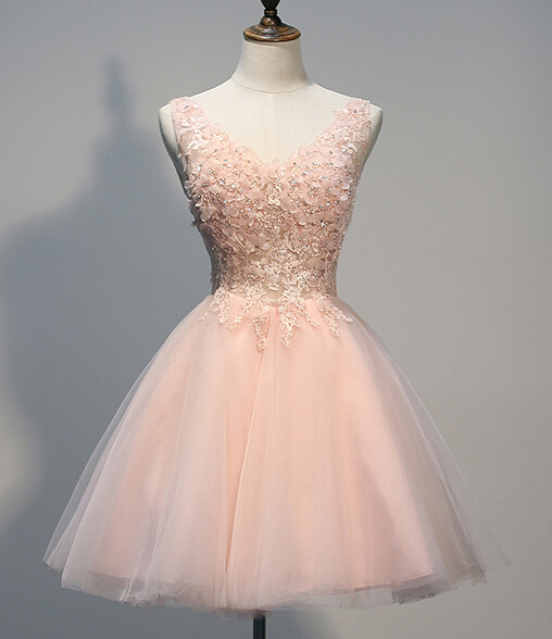8d0200d13fd1 short homecoming dress, cheap blush pink prom dress, off shoulder v-neck  homecoming