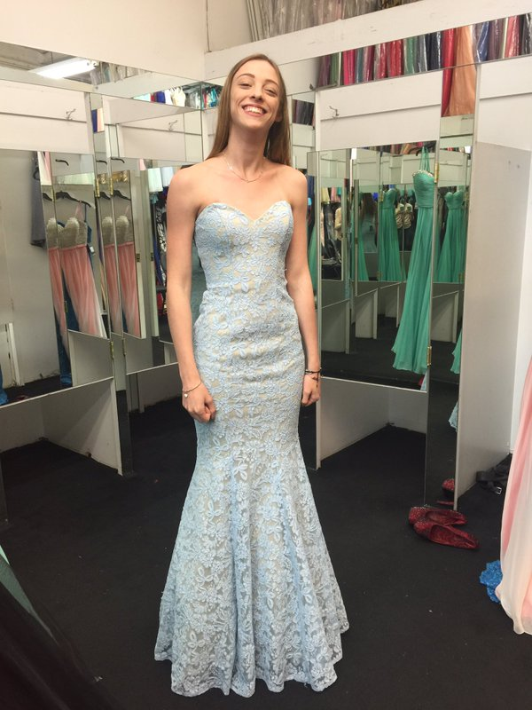 Light Blue Nude Strapless Lace Mermaid Prom Dress Sale Sold By Mia Fiona