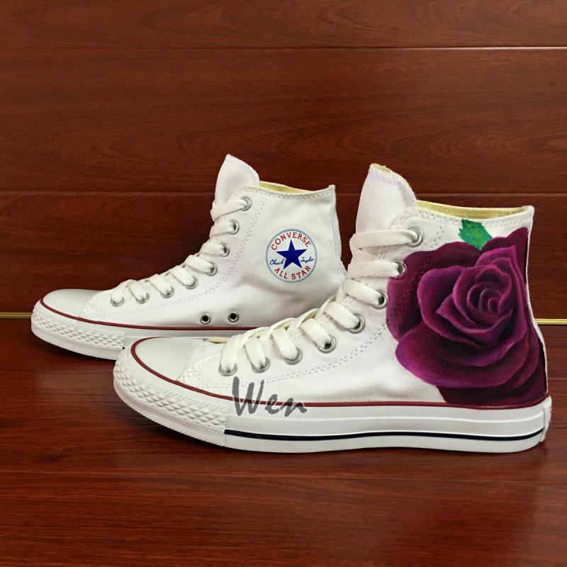 Purple Rose Floral Converse All Star Original Custom Design Hand ... 04767da8c