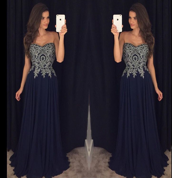 Appliqued Prom Dress,Silver Lace Prom
