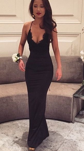 Sexy Black Lace Sexy Evening Gown Mermaid Prom Dresses For