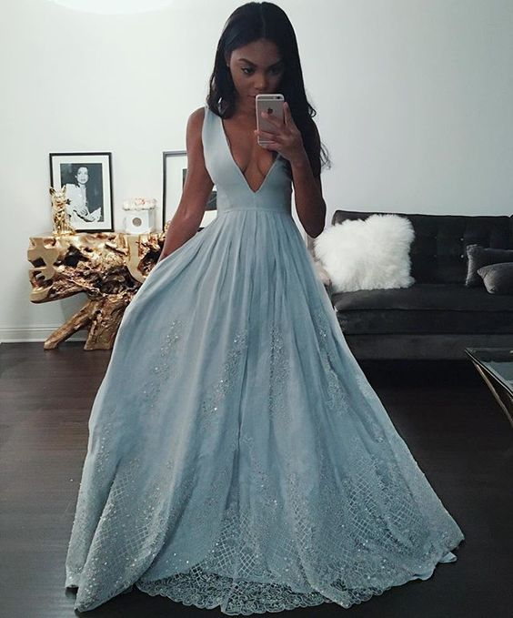 Unique Ball Gown Lace Prom Dresses Blue Evening Gowns For Formal ...