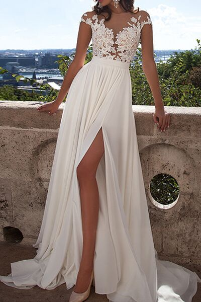 Ivory Lace Beach Wedding Dresses Front Slit See Through Wedding