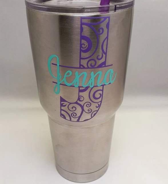 Monogram Car Decal Vinyl Name Yeti Decal Sticker Personalized Decal Laptop Tablet Decal Custom Gifts Stainless Steel Tumbler Oracal