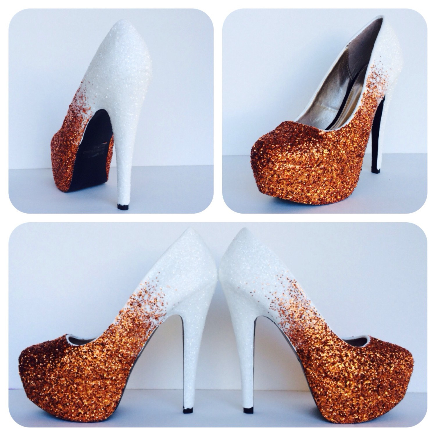 0ee50aee050 Glitter High Heels - Orange Pumps - Tangerine White Ombre Platform Shoes - Two  Tone Fade