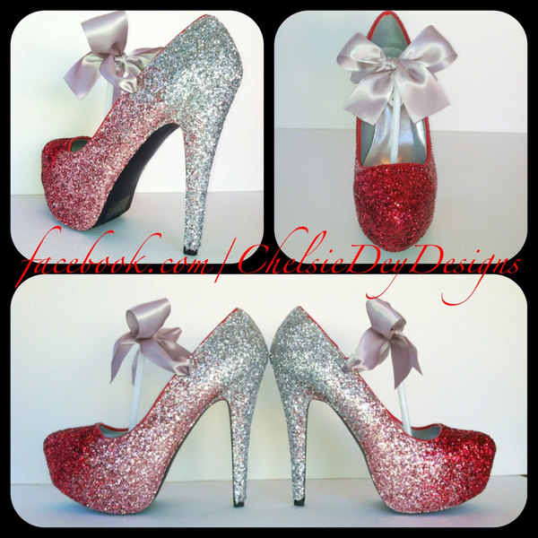 Glitter High Heels - Red Pink Silver Pumps - Cherry Ombre Platform Shoes -  Silver Satin Bows · Chelsie Dey Designs · Online Store Powered by Storenvy a5dbd3f92