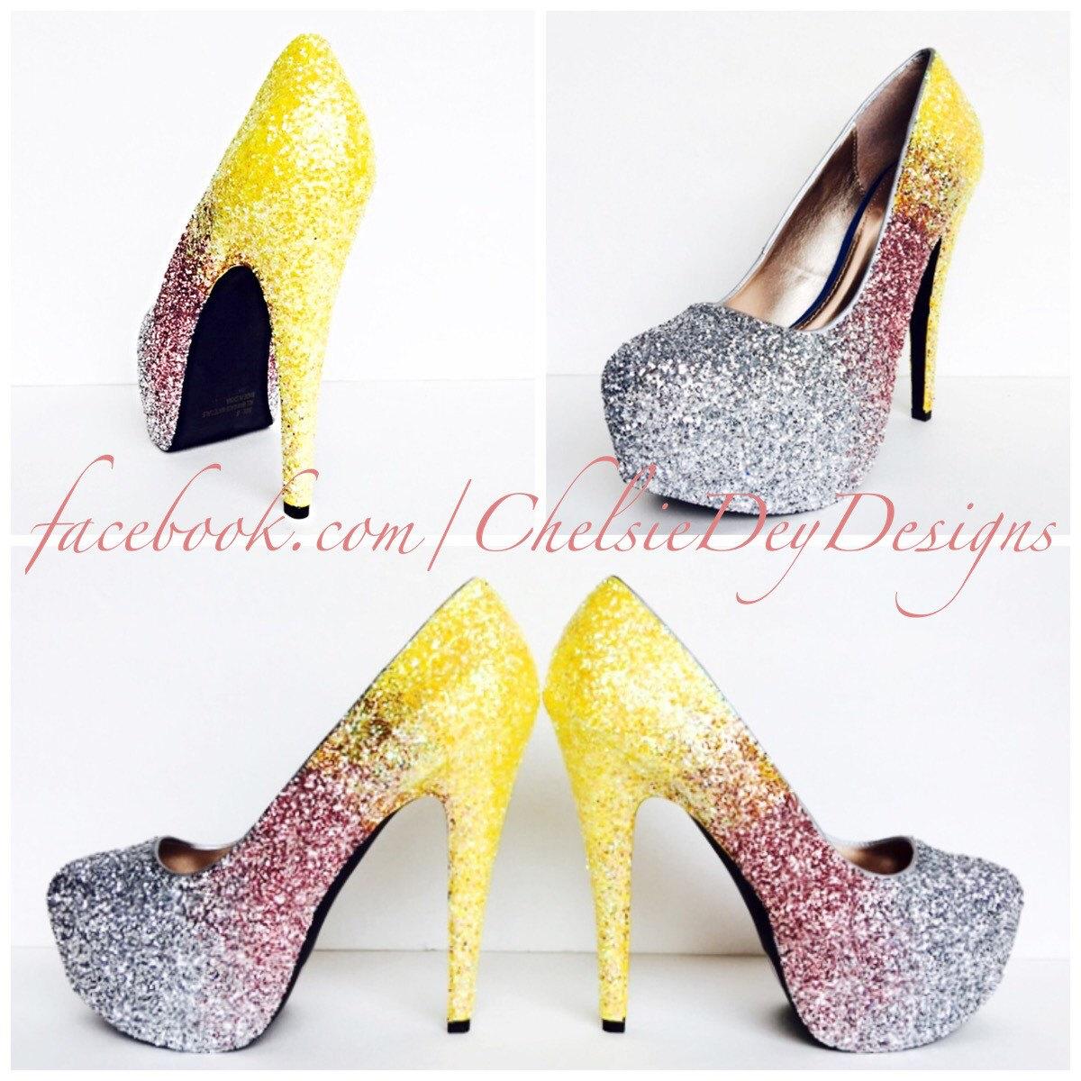 cff98d1f073e Glitter High Heels - Pink Silver Yellow Pumps - Ombre Fade Platform ...