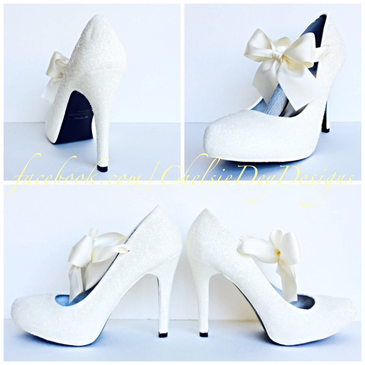abc47e1615e74 White Ivory High Heels - Glitter Pump High Heels with Ivory Satin Bows -  Sparkly Wedding Shoes - Glitzy Prom Heels