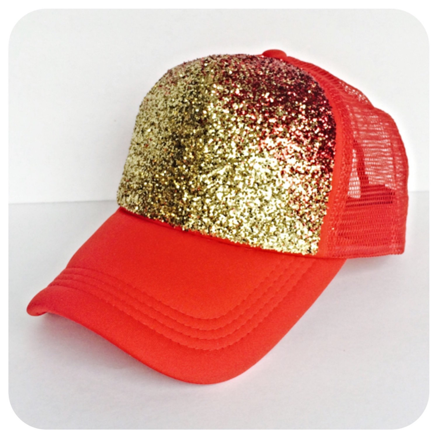 c7e5e8fe6677d3 Glitter Hat, Gold Red Ombre Trucker Hat, Fade Two Tone Baseball Cap ...