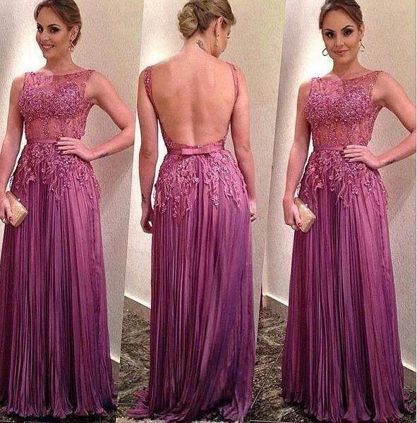 long prom dress, purple prom dress, lace prom dress, backless prom ...