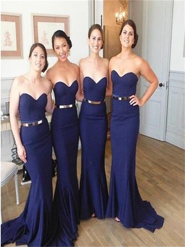 Blue Mermaid Bridesmaid Dress Sweetheart Bridesmaid Dress Long