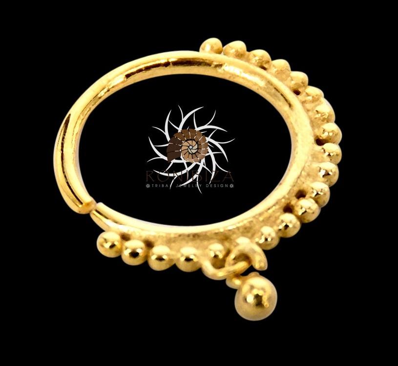 Gold Nose Ring Gold Nose Hoop Indian Nose Ring Tribal Nose