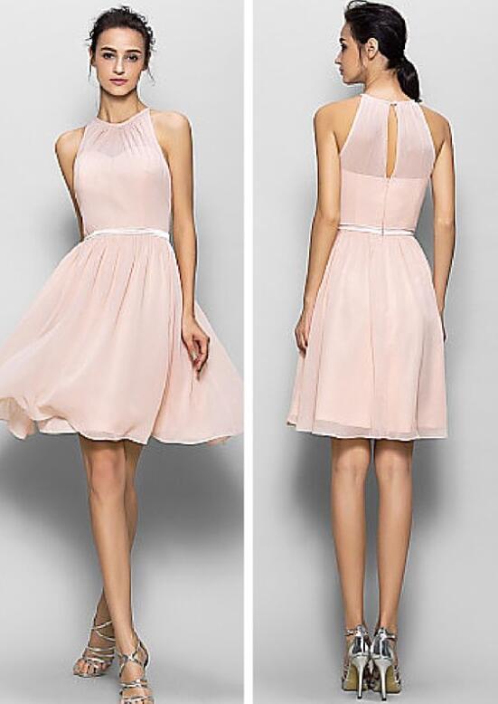Blush pink bridesmaid dresses, short